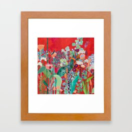 Red floral Jungle Garden Botanical featuring Proteas, Reeds, Eucalyptus, Ferns and Birds of Paradise Framed Art Print