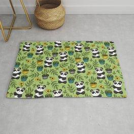 Little Panda Print, Baby Panda, Panda Bear, Boho Panda, Succulents and Flower Rug