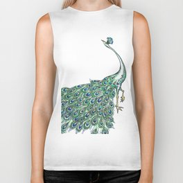 My Peacock Art in Teals and Blues Biker Tank