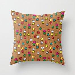Happy Dancing Junimo Pattern Throw Pillow