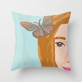 Butterfly Girl Throw Pillow