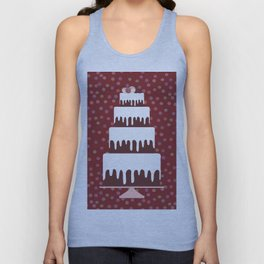 Card design - Birthday, valentine's day, wedding, engagement. Sweet cake, white cream chocolate cake Unisex Tank Top
