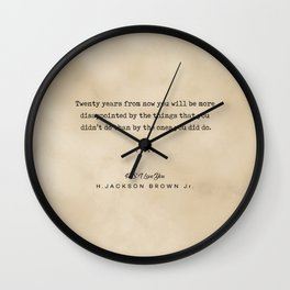 H Jackson Brown Jr Quote 01 - Typewriter Quote on Old Paper - Minimalist Literary Print Wall Clock