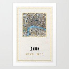 Vintage London Gold Foil Location Coordinates with map Art Print