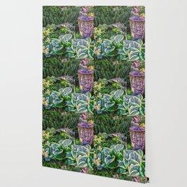 Greens and Yellows Garden Wallpaper