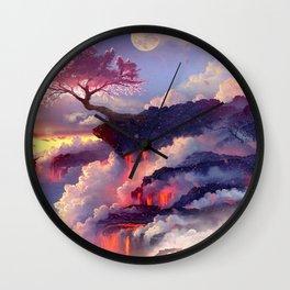 Sakura tree in clouds Wall Clock