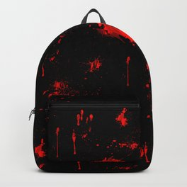 Red Paint / Blood splatter on black Backpack