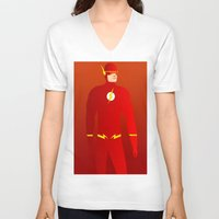 the flash V-neck T-shirts featuring Flash by pablosiano