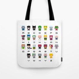 Pixel Supervillain Alphabet 2 Tote Bag