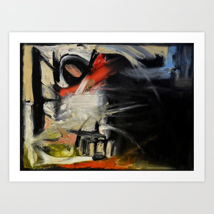 Night Window (oil on canvas) Art Print