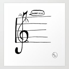 Treble Clef Cat Art Print