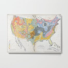 1874 Geological Map of the United States Metal Print