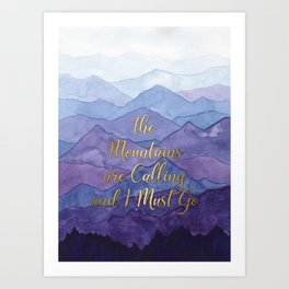 Blue Watercolor Mountains Calling Art Print