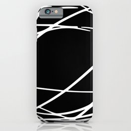 Lines Pattern, Abstract, Stripes, Minimal Art, Black and White iPhone Case