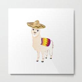 Cartoon Alpaca in Sombrero Metal Print