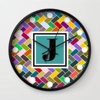 monogram Wall Clocks featuring J Monogram by mailboxdisco