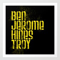 steelers Art Prints featuring Ben Jerome Hines Troy / Black by Brian Walker