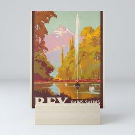 placard bex bains salins suisse cff ligne du simplon bex Mini Art Print