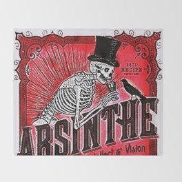 Vintage 1871 Red Absinthe Liquor Skeleton Elixir Aperitif Cocktail Alcohol Advertisement Poster Throw Blanket
