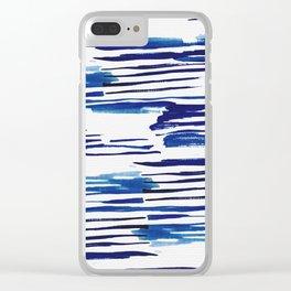 Shibori Paint Vivid Indigo Blue and White Clear iPhone Case