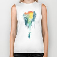 designer Biker Tanks featuring I Want My Blue Sky by Picomodi
