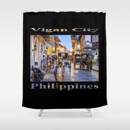 Rush Hour in Vigan City (on black) Shower Curtain