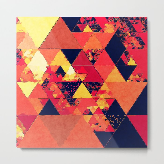 Pure fire- Red yellow black abstract Triangle pattern- Watercolor Illustration Metal Print