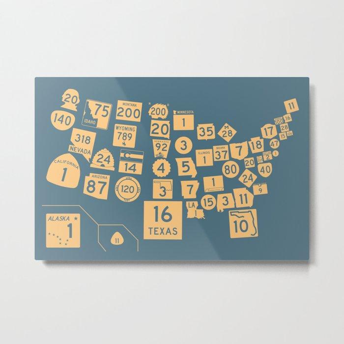 United State Highways of America - Slate Blue Metal Print