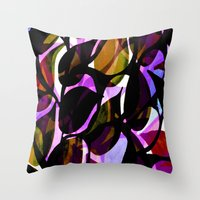 weed Throw Pillows featuring Red weed. by Sarah Bagshaw