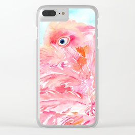 Watercolor abstract pink Flamingo Clear iPhone Case