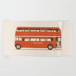 Red London Bus Beach Towel