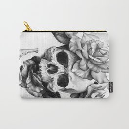 Black and white Skull and Roses Carry-All Pouch