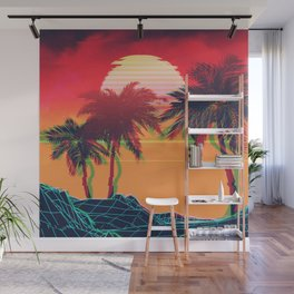 Vaporwave landscape with rocks and palms Wall Mural