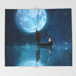 The Moon and Me Throw Blanket