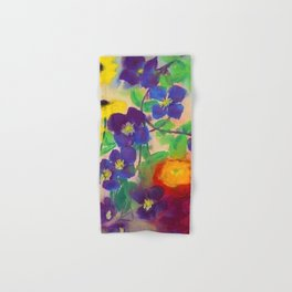 Sunflowers, violets, and peonies flower garden watercolor by Emil Nolde Hand & Bath Towel