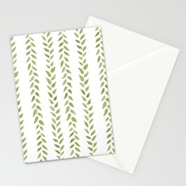 Matcha Greens - nature spring leaves green pattern Stationery Cards