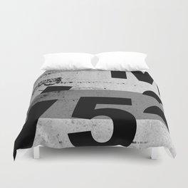 GRUNGE TECHNO V52m Typography | smoke grey black Duvet Cover