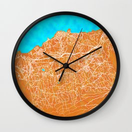 Puerto de la Cruz, Spain, Gold, Blue, City, Map Wall Clock
