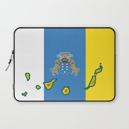 Canary Islands Flag with Map of the Canary Islands Islas Canarias Laptop Sleeve