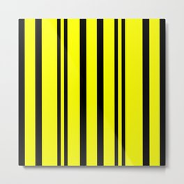 NEON YELLOW AND BLACK THIN AND THICK STRIPES Metal Print