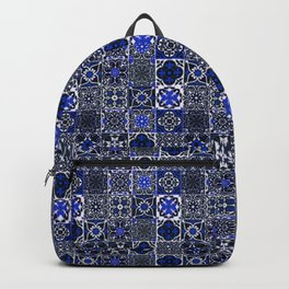 Blue Wonderful Traditional Moroccan Vintage Tiles Artwork (N26). Backpack