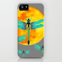 GREEN DRAGONFLIES FLYING TO MOON iPhone Case