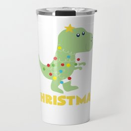 Christmas Tree T Rex Dinosaur Funny Gift Travel Mug