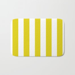 Citrine yellow - solid color - white vertical lines pattern Bath Mat