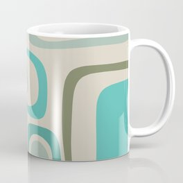 Palm Springs Mid Century Modern Abstract Pattern in Vintage Ecru, Turquoise, and Olive Coffee Mug
