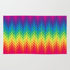 neon rainbow flame chevron Rug