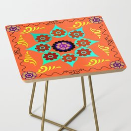 Talavera Tile Orange Side Table