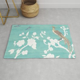 Chinoiserie Panels 3-4 White Scene on Teal Raw Silk - Casart Scenoiserie Collection Rug