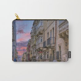 Typical architecture in Malta, wooden colorful balconies, Valleta, Malta Carry-All Pouch