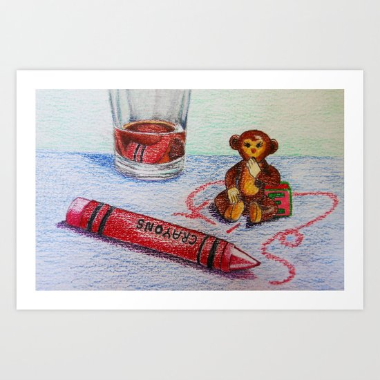 Crayon Love My Monkey is up to Something Art Print